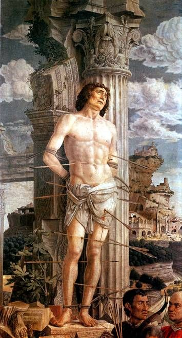 МАНТЕНЬЯ АНДРЕА. Св. Себастьян, ок. 1480.   Изола-ди-Картура (Венето), 1431 — Мантуя, 1506   Холст, 255 х 140 см. Поступила в Лувр в 1910 г.