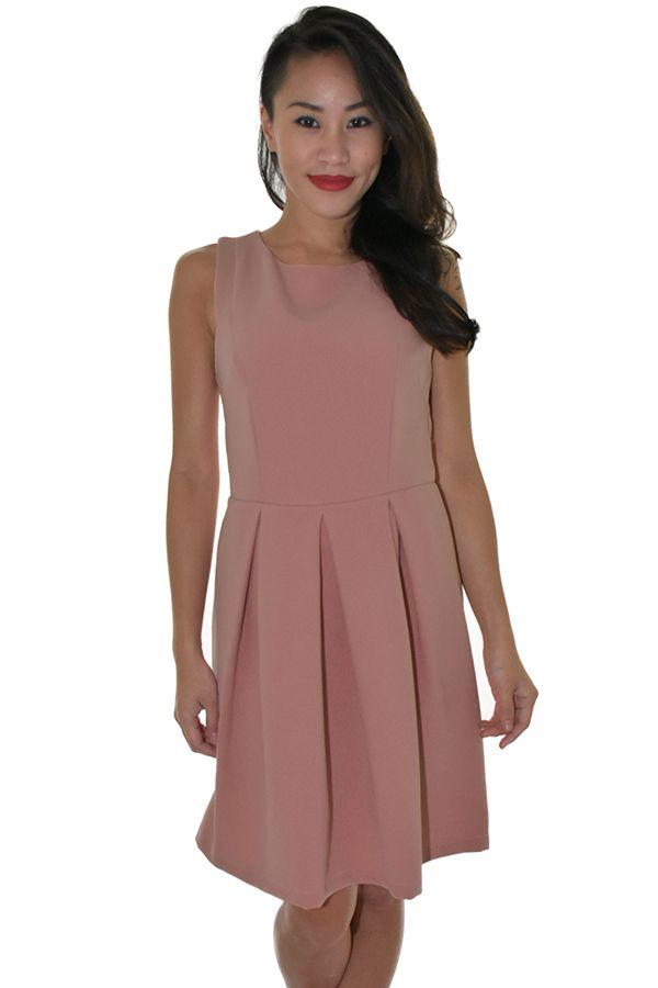 PSL Pleated Pouf Dress in Dusty Rose