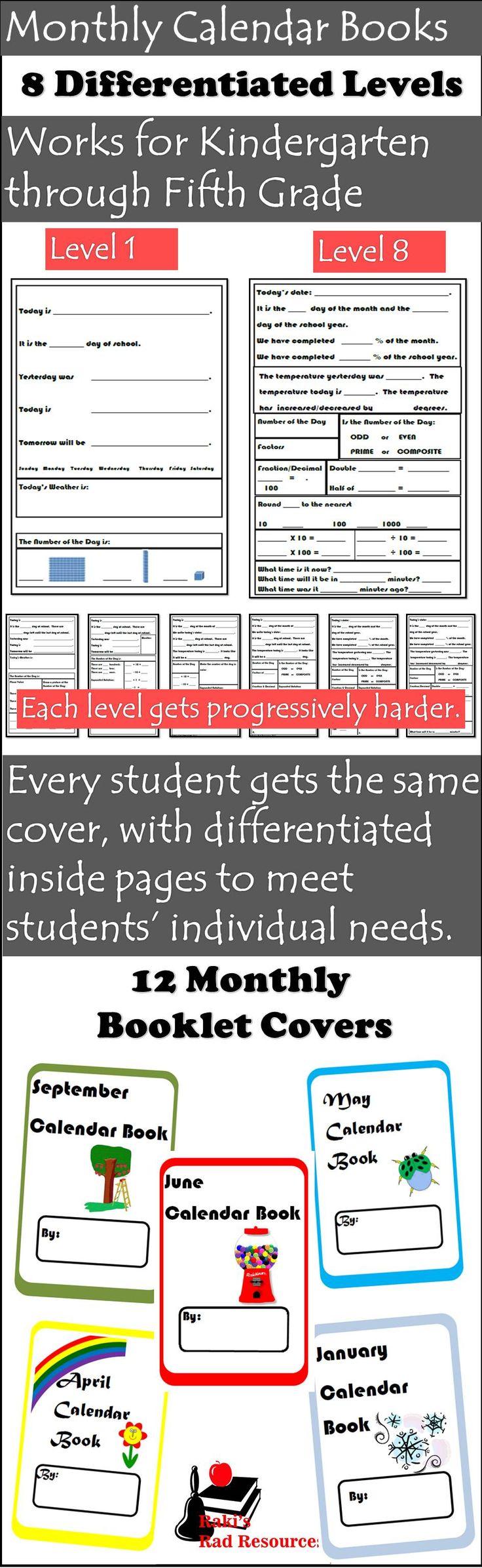 Monthly Calendar Book : Differentiated monthly calendar math books