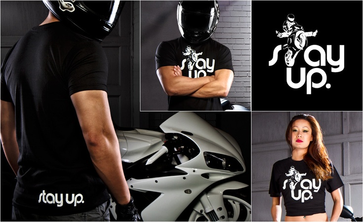 Stay Up. Motolifestyle Tee: Stay Up Like Wheelies