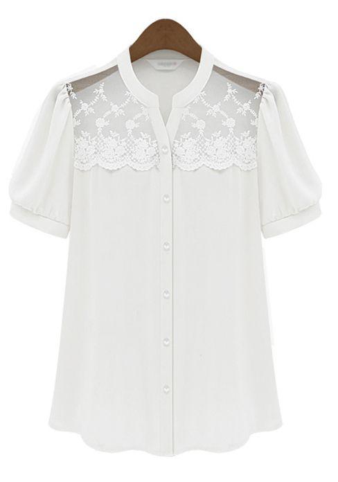 Shop Victorian Style Blouses, Lolita Blouses, Edwardian Blouses  - White Short Sleeve Insert Scallop Lace Chiffon Blouse $31.97