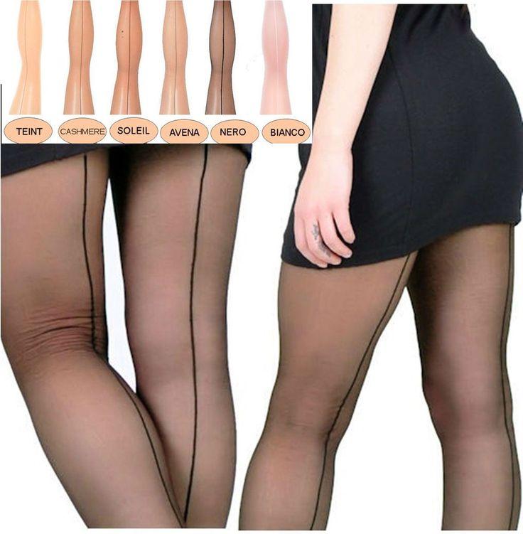 RETRO-STYLE hauchdünne Strumpfhose mit Naht Lycra 6 Farben schwarz weiß natural in Kleidung & Accessoires, Damenmode, Socken & Strümpfe | eBay