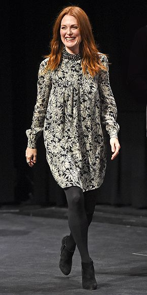 Julianne Moore in a floral dress and tights - click for more Toronto Film Festival style