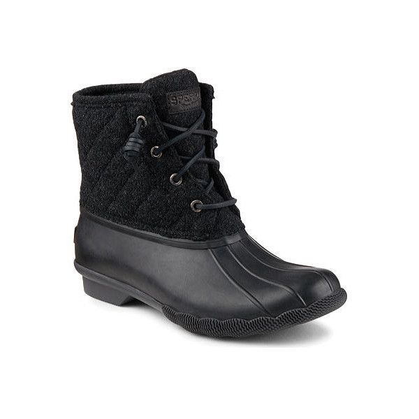 Women's Sperry Top-Sider Saltwater Duck Boot ($90) ❤ liked on Polyvore featuring shoes, boots, casual, winter boots, lace up winter boots, waterproof duck boots, black waterproof boots, black duck boots and leather boots
