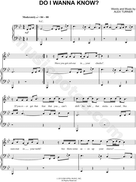 Print and download do i wanna know sheet music by arctic for Piano dance music 90 s