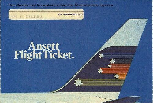 Ansett Flight Ticket 1985