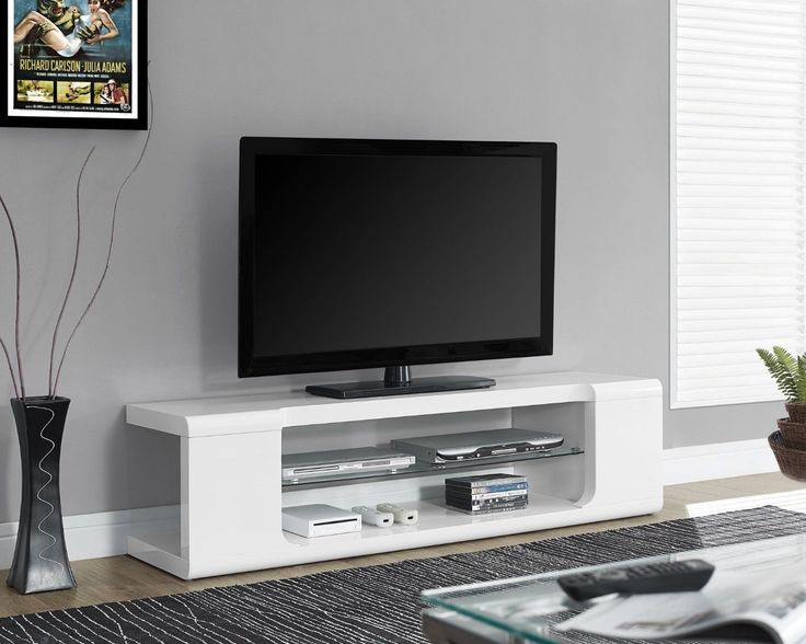 Entertainment Units TV Stands: Tv Entertainment Center Modern Stand Contemporary Unit White Console Glass 59 BUY IT NOW ONLY: $239.99