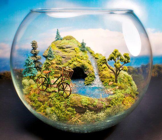 Bicycle  Mini Zen Garden with Pond  Terrarium by Megatone230, $140.00