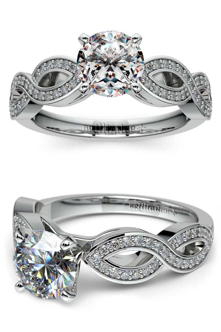 This Unique Cathedral Style Setting In White Gold Features An Infinity  Twist Design Representing Endless Love Engagement Rings