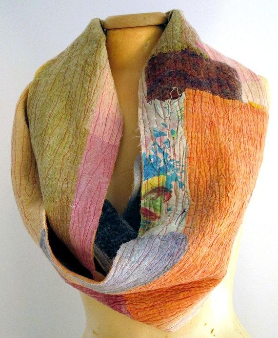 beautiful nuno felt infinity scarf for women by gaiagirard