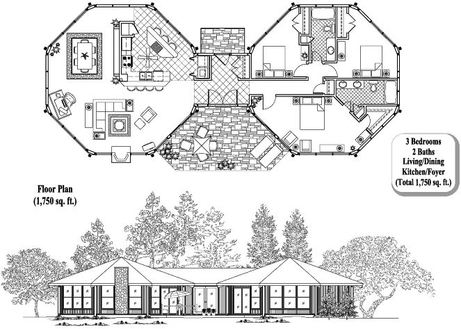 Topsider Homes House Plans: Classic Collection CM-0303, 1750 sq. ft., 3 Bedrooms, 2 Baths