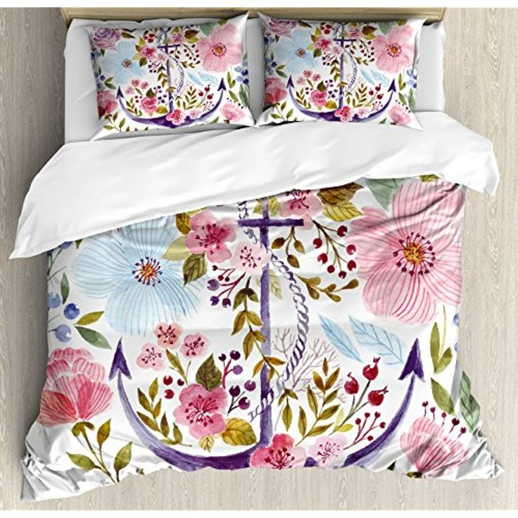 Watercolor Queen Size Duvet Cover Set by Ambesonne, Nautical Anchor Covered by Flourishing Ivy Blossoms Romance Love Rose Image, Decorative 3 Piece Bedding Set with 2 Pillow Shams, Multicolor * You can get additional details at the image link. (This is an affiliate link) #KidsHomeStore