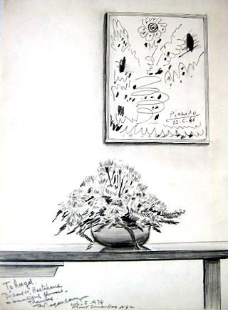 """a drawing of a Picasso hanging in a Mt Sinai hospital room by artist Burhan Dogancay, 1974, pencil, 12"""" x 9"""""""