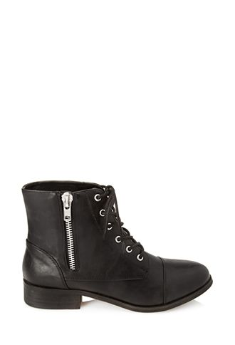 These faux leather booties feature a lace-up top and side zipper. Complete with a short stacked heel and round toe.