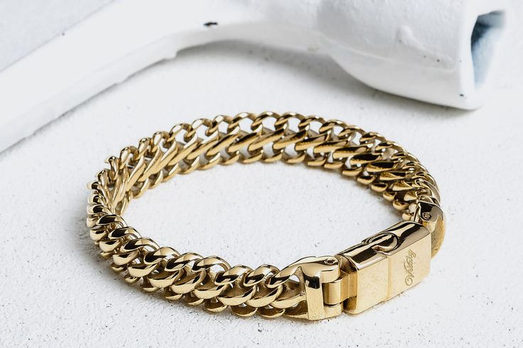 Gold thick stainless steel bracelet.
