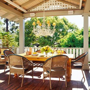 Sunshine brightens this patio