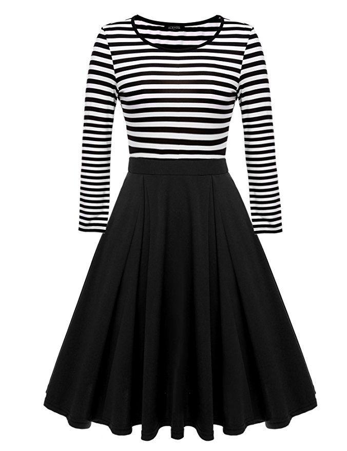 ACEVOG Women's Vintage Stripes Patchwok A-line Long Sleeve Cocktail Dress Price: $24.99 - $27.99