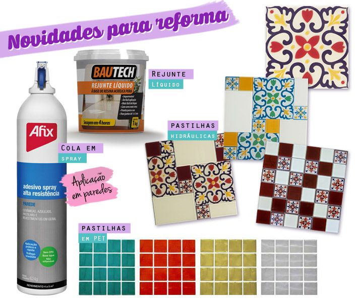 Cola spray para paredes, usada para colar pastilhas de vidro, cerâmica sobre cerâmica, sobre porcelanato e muito mais. Pastilhas PET, rejunte líquido pronto