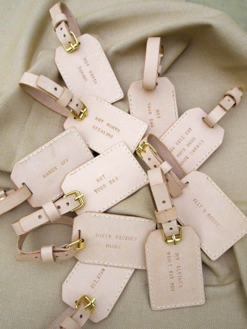 Great favor idea for destination weddings or for the out of town guests' gift bag.Destination Wedding Favors, Gift Ideas, Parties Favors, Favors Ideas, Destinations Wedding Favors, Wedding Favours, Destination Weddings, Bridesmaid Gift, Luggage Tags