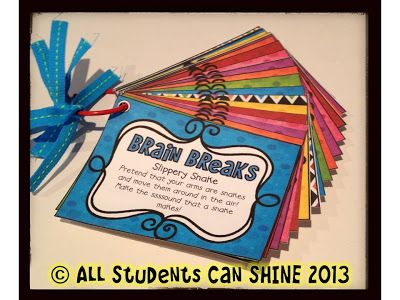 All Students Can Shine: Brain Breaks - I would do so much better with this deck than the Popsicle sticks I was going to use!
