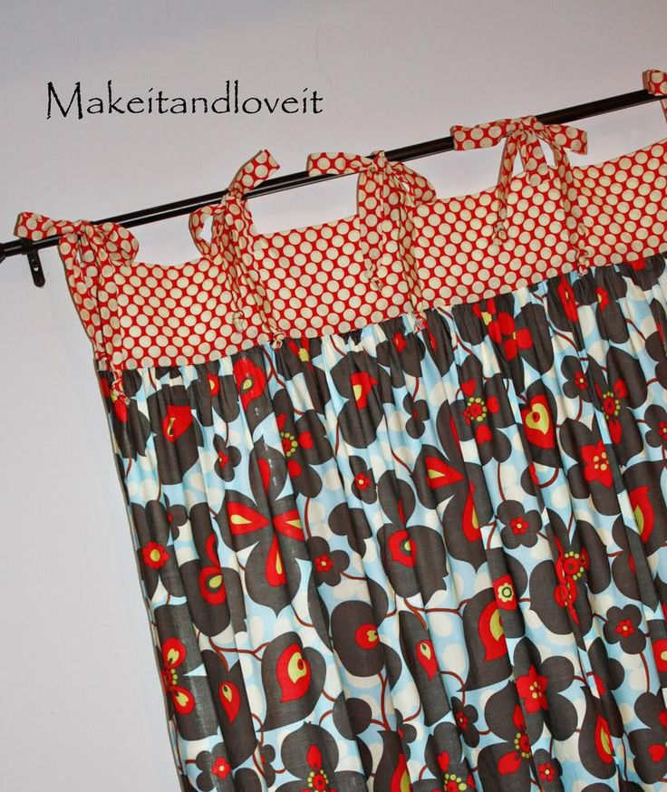 DIY Gathered Curtains with Ties
