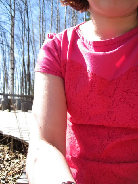 t-shirt, lace, sewing, diy