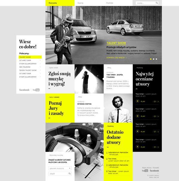 Skoda. Wiesz co dobre! #concept #car #website #web #block #yellow #gray #webdesign