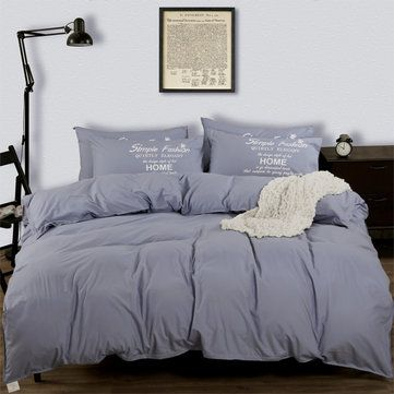 4PCS Suit Polyester Fiber Plain Pure Colour Reactive Printing Bed Cover Queen Size Bedding Sets