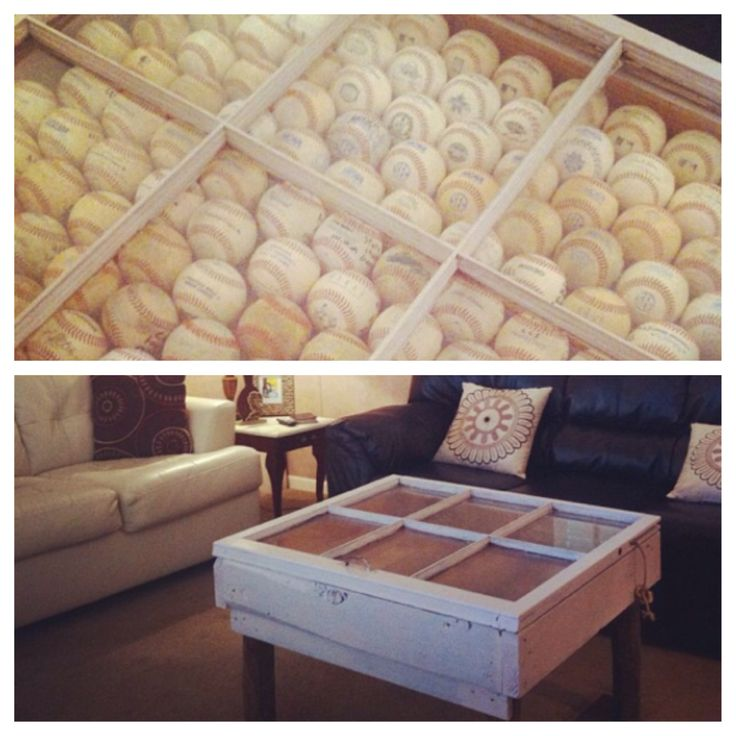 My Coffee Table Made From An Old Window And Filled With Baseballs Diy Pinterest Window