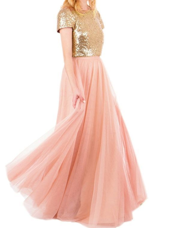 Gold Sequins Top Long Tulle Prom Dresses 2017 Two Piece Party Dresses