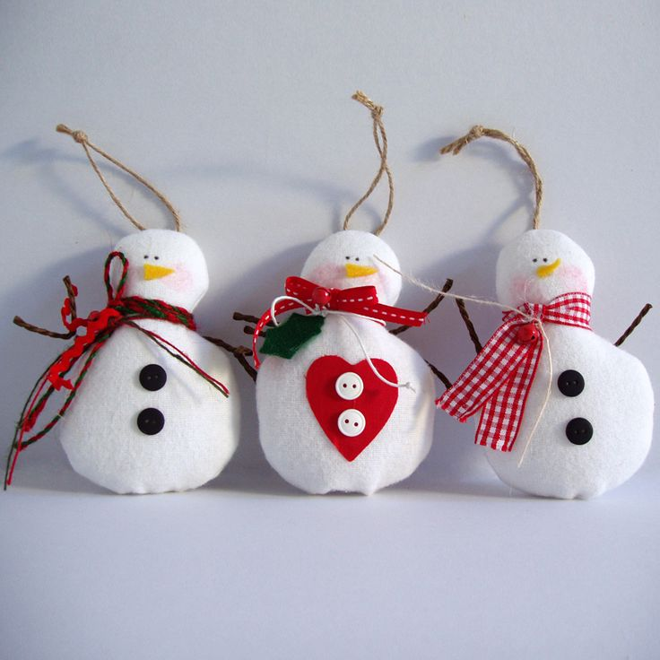 Hanging fabric snowman in white fabric and various embellishments.