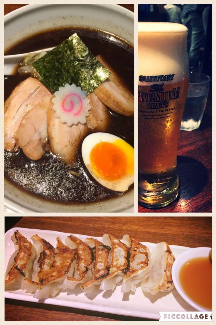 やっぱ日本のラーメンが1番美味しいと思う。ギョウザとビールの組み合わせは最高! japanese rahmen. UMAI!! l love beer♡♡