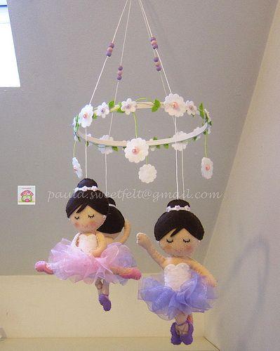 ♥♥♥ Mobile bailarinas, já a caminho dos States ... by sweetfelt  ideias em feltro