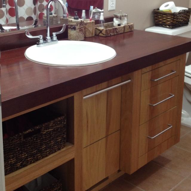 Vanity Made From Scrap Laminate Flooring (from Habitat For