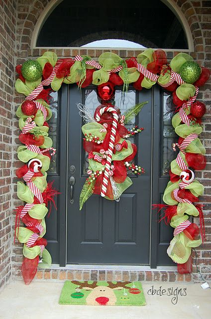 awesome christmas front doorIdeas, Christmas Time, Christmas Front Doors, Candies Canes, Christmas Doors Decor, Christmas Decor, Deco Mesh, Front Porches, Christmas Porch