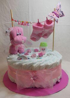 Windeltorte rosa blau Babygeschenk Geburt Taufe Mädchen Junge mit Name Hündchen
