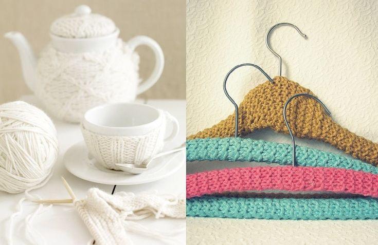 Pletené vešiaky a čajník