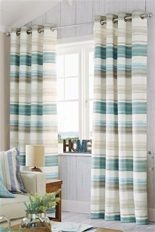 Buy Teal Watercolour Stripe Eyelet Curtains From The Next
