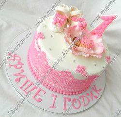 Торт с босоножками для девочки на 1 годик