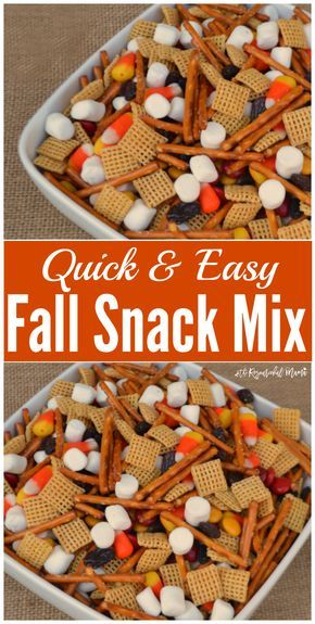 Quick & Easy Fall Snack Mix great for snacking, gatherings, parties, school snacks, and potlucks.