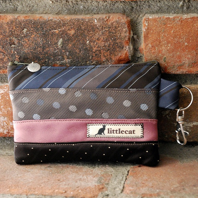 RePurposed neckties into a wristlet
