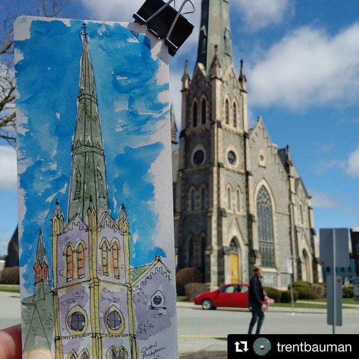 #Repost @trentbauman with @repostapp  Sketching the church (one of many) downtown Galt #mycbridge #cbridge