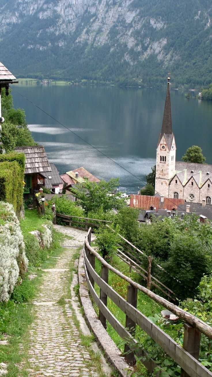 austria, lake, home, structures, mountains