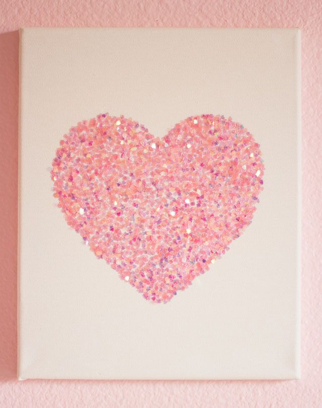 Diy Wall Art Hearts : Easy glitter wall art and heart