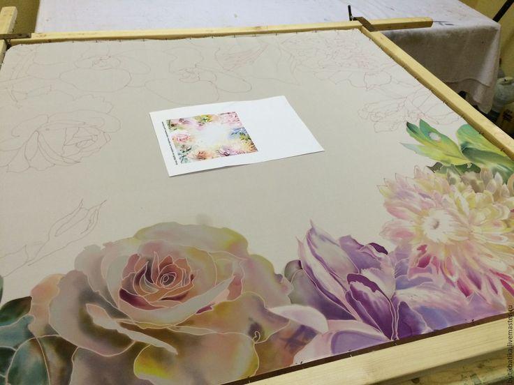 Купить Шелковый платок батик Акварельные цветы - комбинированный, цветочный, акварель, цветы, Батик
