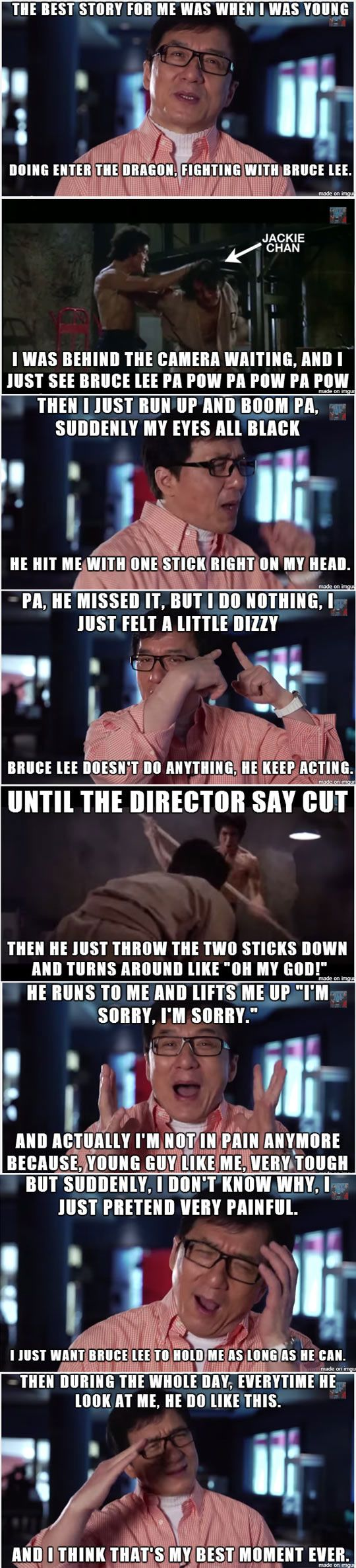 And that, folks, is how Jackie Chan became a star by making Bruce feel really guilty.....