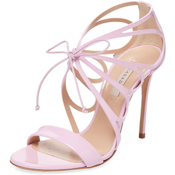 Casadei Women's Patent Leather Strappy Sandal - Pink, Size 37.5 (£290) ❤ liked on Polyvore featuring shoes, sandals, pink, pink shoes, patent leather shoes, strappy sandals, high heel sandals and patent leather sandals