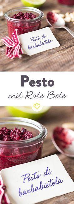Leuchtende Farbe und süßlich-erdiger Geschmack – die rote Knolle gehört zu den gesündesten Gemüsesorten und macht dieses Pesto zu einer wahren Vitaminbombe.