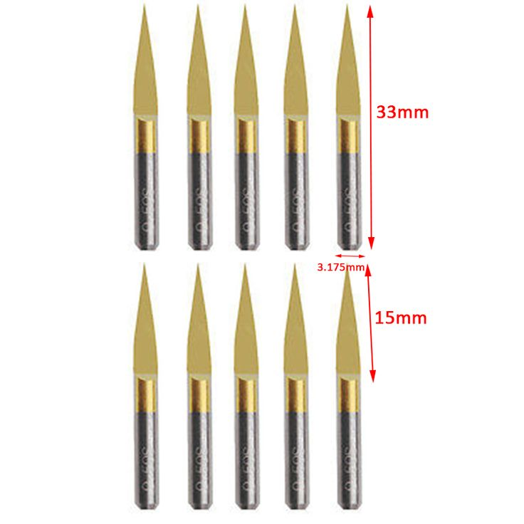 10pcs 10 Degree Carbide PCB Engraving Bits  0.1mm Titanium Coated CNC Router Tools For CNC/PCB Machinery #Affiliate