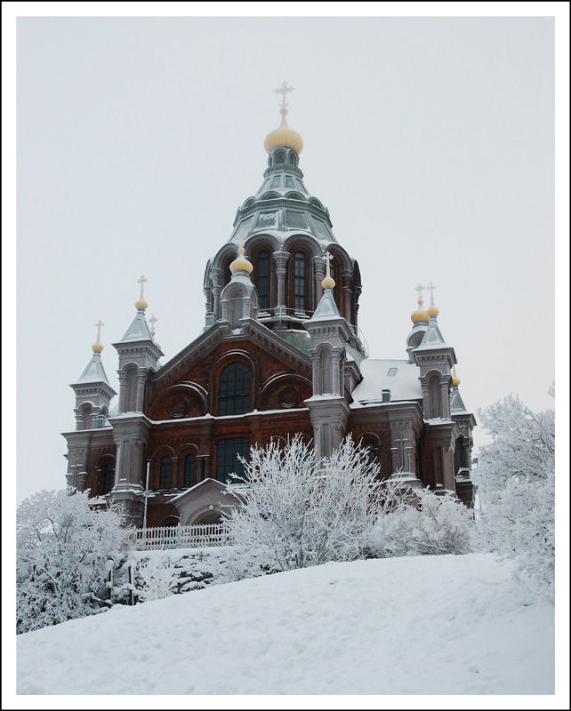 Uspenski Cathedral (Finnish: Uspenskin katedraali, Swedish: Uspenskij-katedralen, Russian: Успенский собор) is an Eastern Orthodox cathedral in Helsinki, Finland, dedicated to the Dormition of the Theotokos (the Virgin Mary). Its name comes from the Russian word uspenie, which denotes the Dormition. Designed by the Russian architect Alexey Gornostaev (1808-1862), the cathedral was built after his death in 1862-1868.